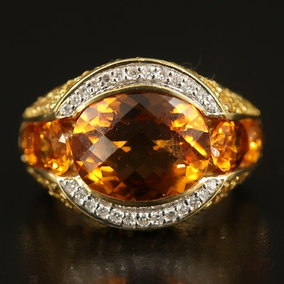 18K Citrine, Sapphire and Diamond Ring