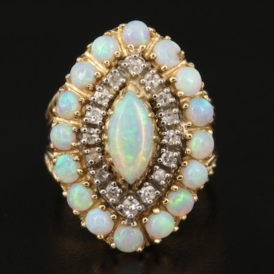 18K Opal and Diamond Navette Cluster Ring