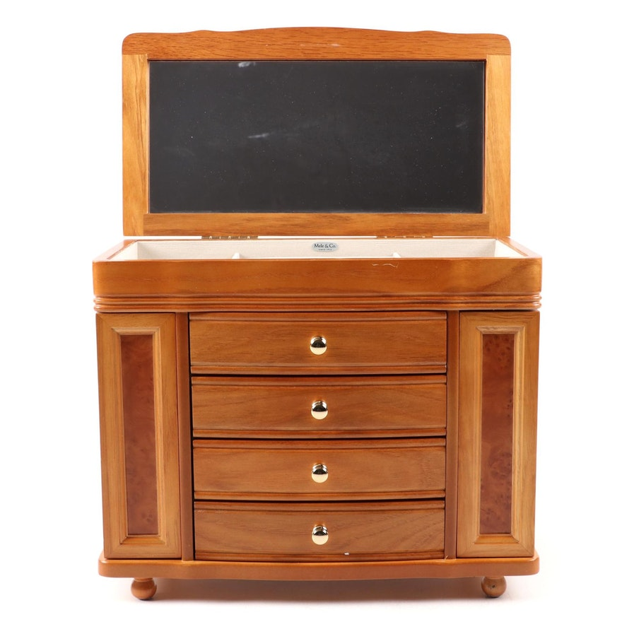 Mele & Co. Oak and Burl Wood Finish Jewelry Box
