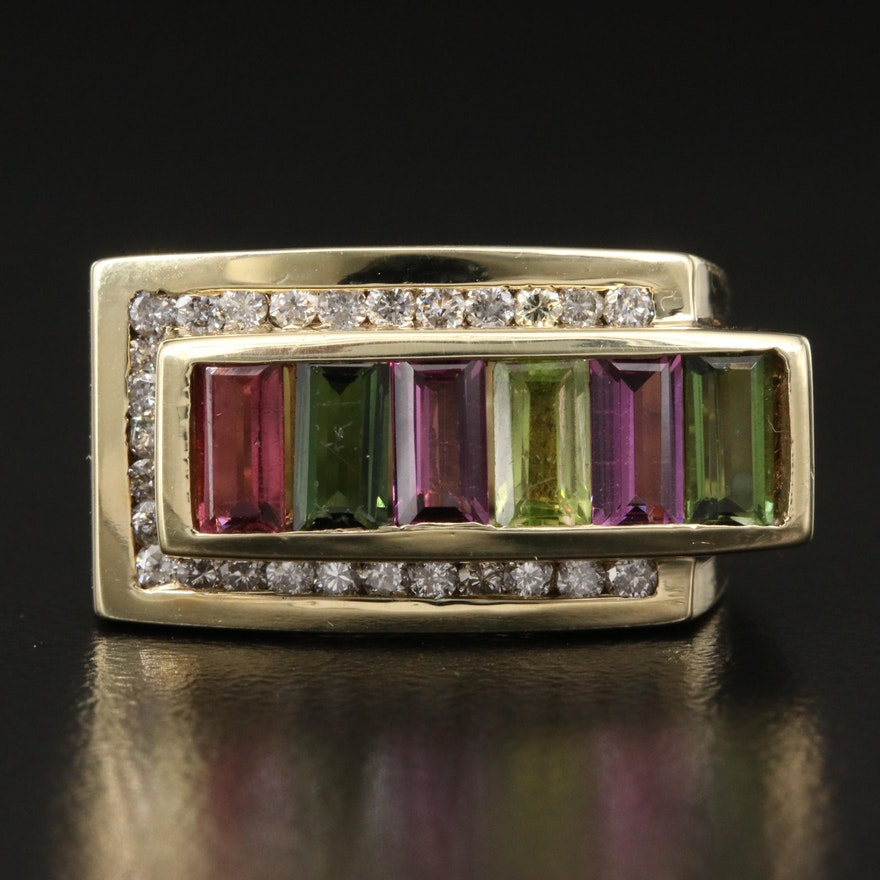 14K Channel Set Diamond and Gemstone Asymmetrical Ring