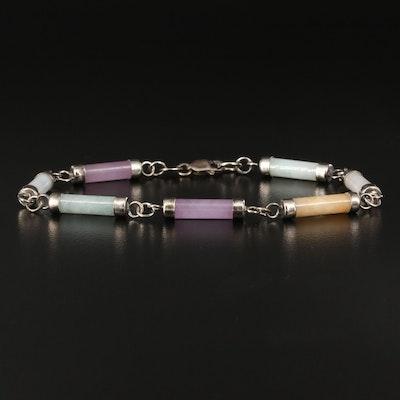 Sterling Jadeite Link Bracelet