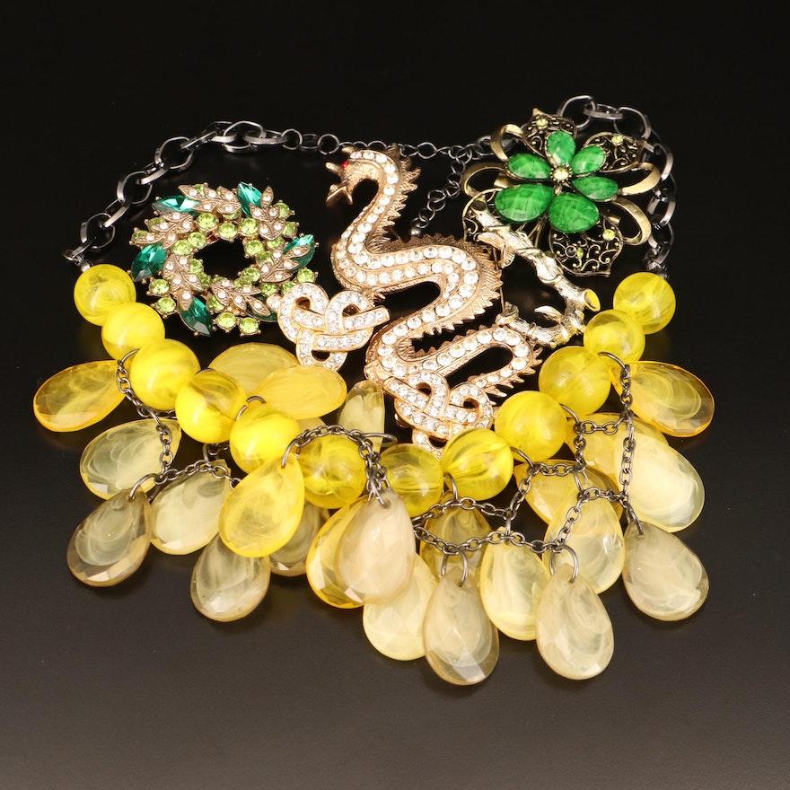 Jewelry Including Swarovski Crystal Earrings Art Glass and Rhinestone and Glass
