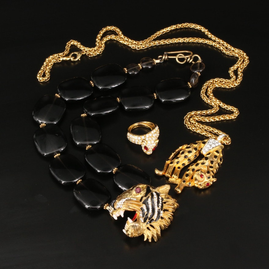 Animal Themed Necklaces and Ring Featuring Kenneth Jay Lane and Smoky Quartz