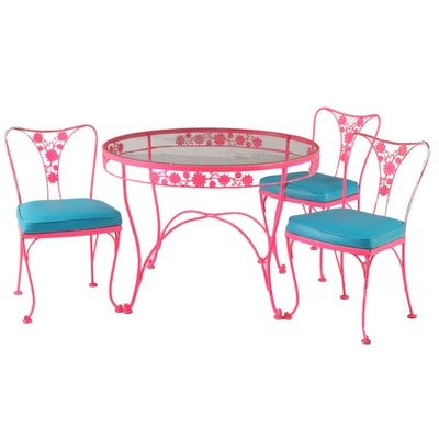 Mid Century Modern Hot Pink Four-Piece Iron Patio Dining Set