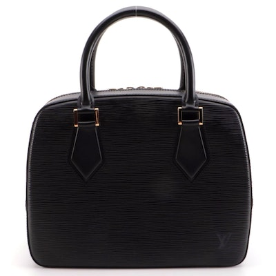 Louis Vuitton Sablons Satchel in Black Epi Leather and Smooth Leather
