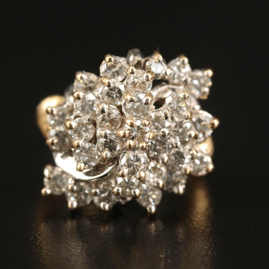 14K 2.75 CTW Diamond Cluster Ring