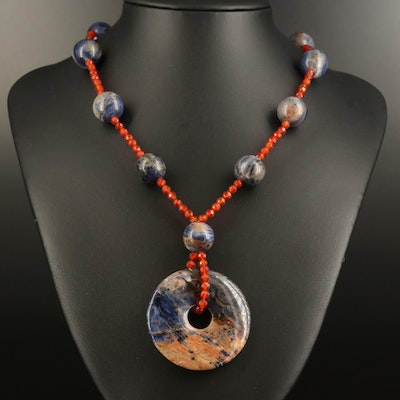 Sterling Sodalite and Carnelian Bead and Bi Disc Pendant Necklace