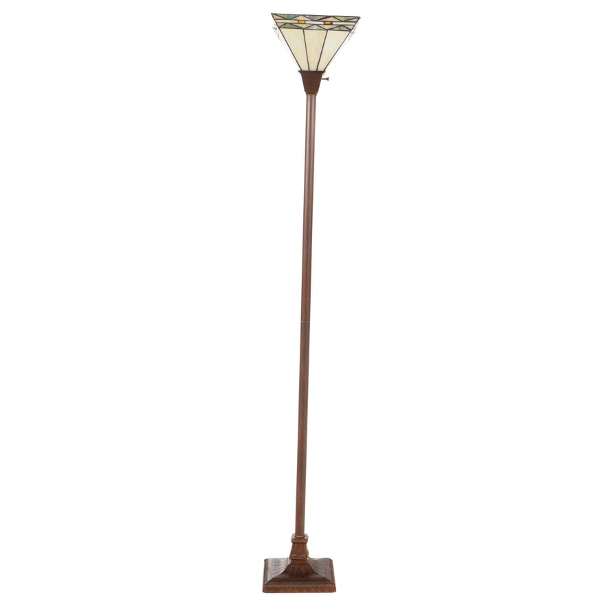 Arts and Crafts Style Copper-Patinated Metal and Slag Glass Torchiere Floor Lamp