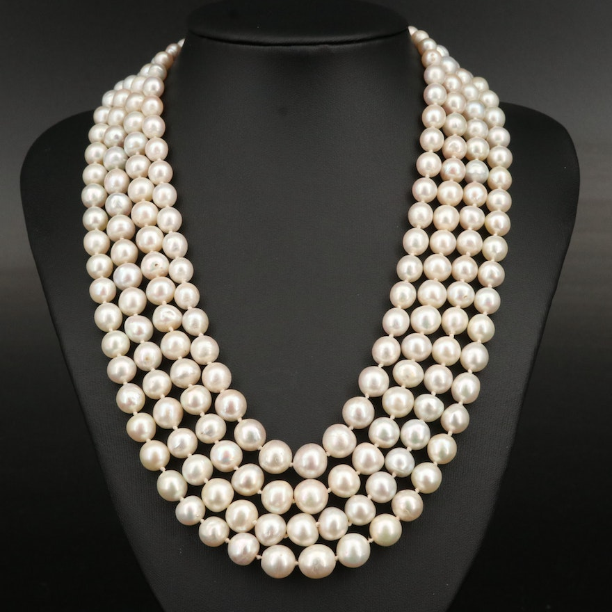 Antique Multi-Strand Pearl Necklace with Sterling and 18K Gemstone Clasp