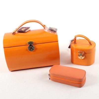 Rowallan of Scotland Orange Bonded Leather Jewelry Boxes