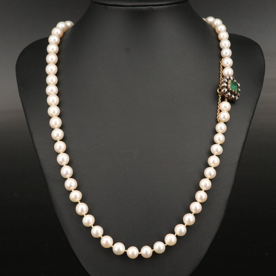 Pearl Necklace with 18K and Sterling Diamond and Emerald Clasp