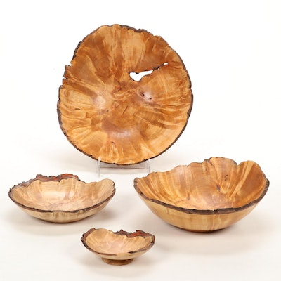 Jim Eliopulos Turned Live Edge Bryle Maple Burl Wood Free-Form Bowls