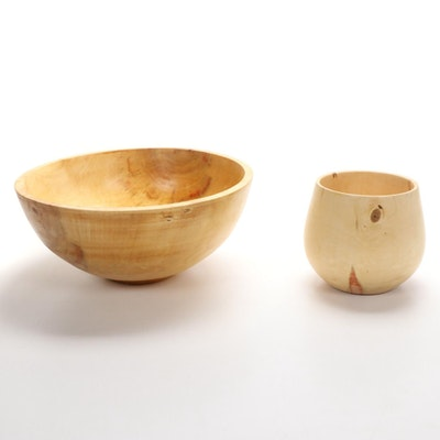 Jim Eliopulous Turned Box Elder Wood Bowls