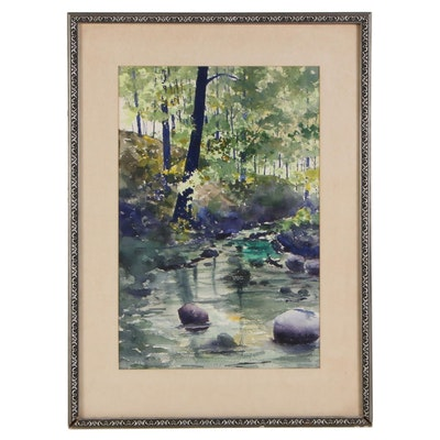 "Frank W. Van Holte Watercolor Painting ""Rock Spring,"" 1972"