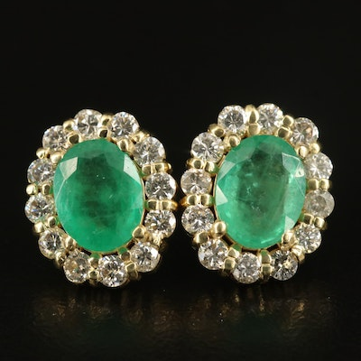 18K 3.00 CTW Emerald and 1.32 CTW Diamond Earrings