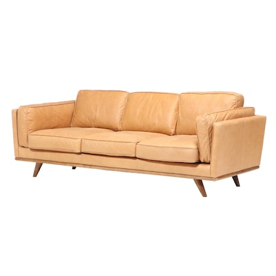 Woodworth Mid Century Style Leather Upholstered Sofa