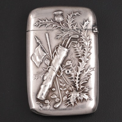 Gorham Thistle and Golf Bag Motif Repoussé Sterling Silver Match Safe, 1901