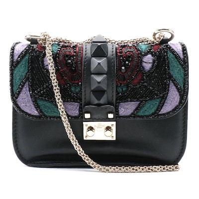 Valentino Garavani Glam Lock Embellished Black Smooth Leather Shoulder Bag
