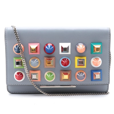 Fendi Tube Rainbow Studded Leather Front Flap WOC