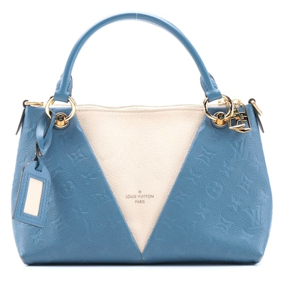 Louis Vuitton V Tote BB in Orage Empreinte Leather and Neige Taurillon Leather