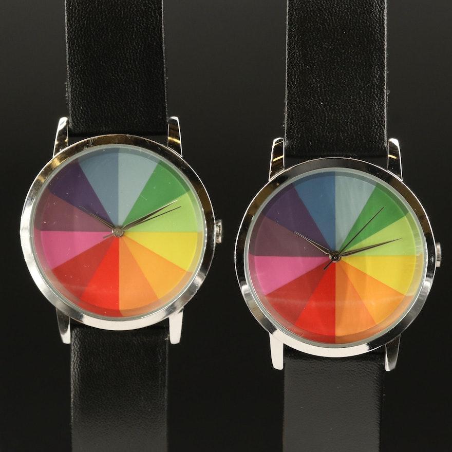 Stainless Steel Colorwheel Twelve Wristwatches