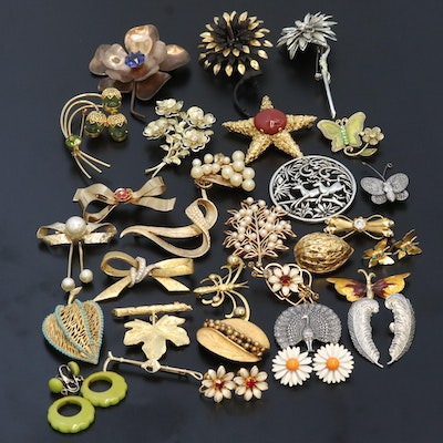 Vintage Brooch and Earrings Featuring Plant, Animal and Bow Motifs