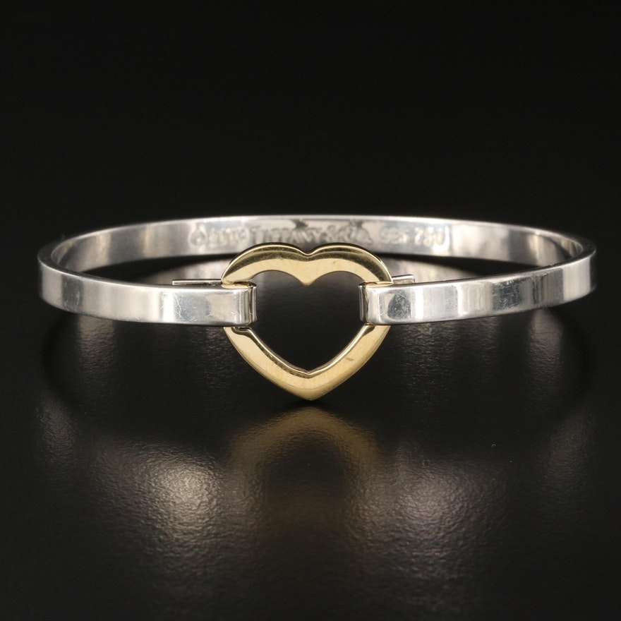 Tiffany & Co. Sterling Silver and 18K Heart Bangle