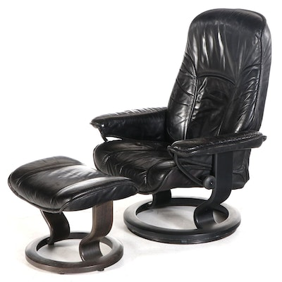 """Ekornes """"Stressless"""" Black Leather Lounge Chair with Ottoman"""