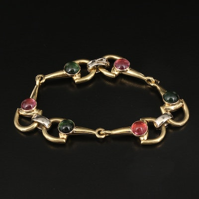18K Tourmaline Horsebit Bracelet with 14K Accents