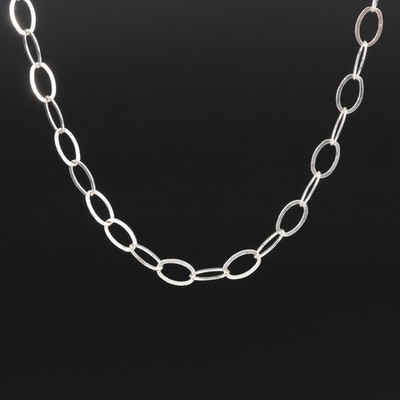Italian Sterling Silver Flat Cable Chain Necklace
