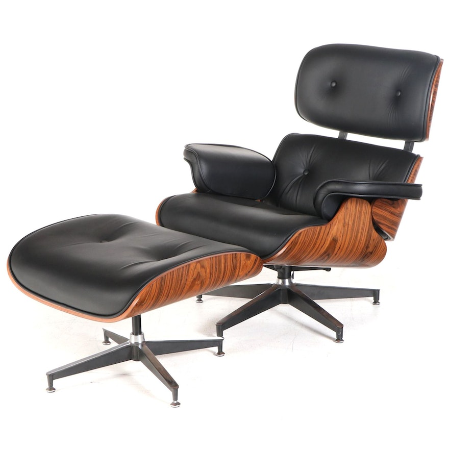 Eames Style Bonded Leather and Bentwood Lounge Chair with Ottoman