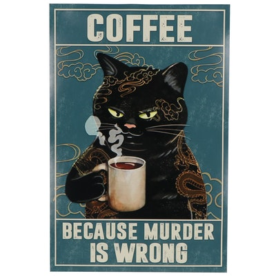 Giclée of Black Cat with Coffee, 21st Century