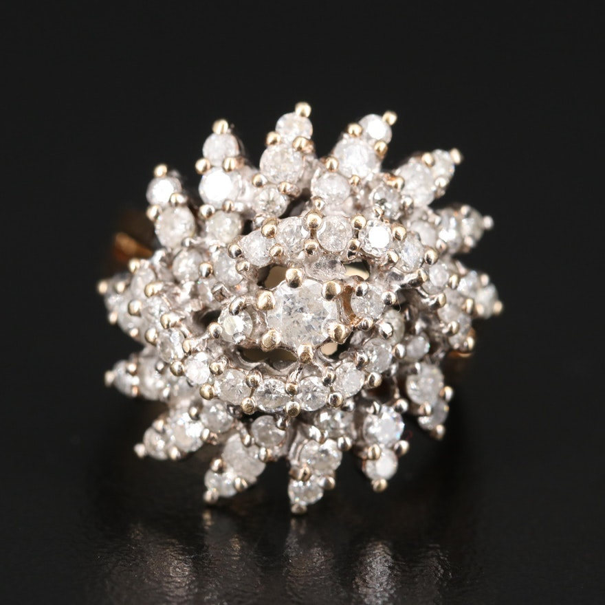 14K 1.91 CTW Diamond Cluster Ring