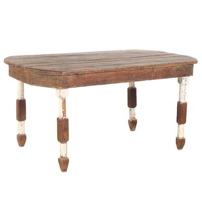 American Primitive Style Painted Wood Dining Breakfast Table