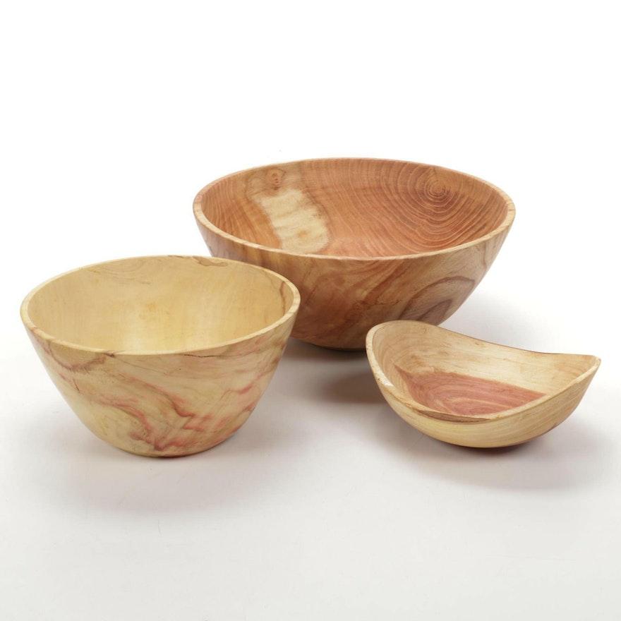 Jim Eliopulos Turned Cedar, Box Elder, and Honey Locust Wood Free-Form Bowls