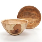 Jim Eliopulos Handcrafted Ambrosia and Spalted Maple Bowls
