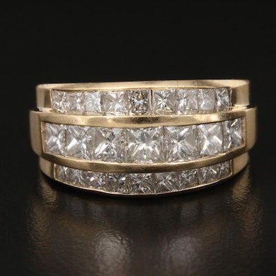 14K 3.51 CTW Diamond Three Row Band