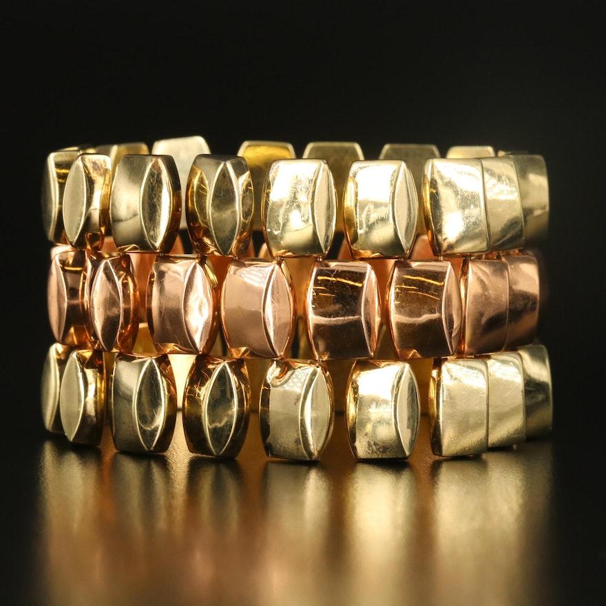 Retro 14K Two-Tone Geometric Link Bracelet
