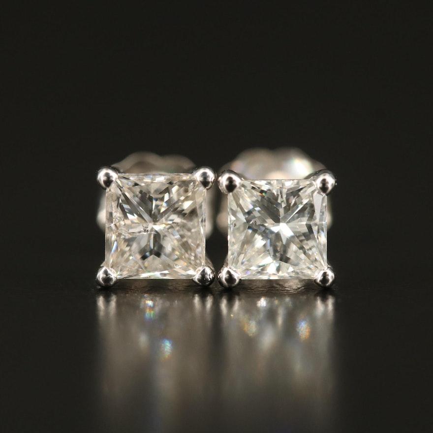14K 1.48 CTW Diamond Stud Earrings with GIA Dossiers