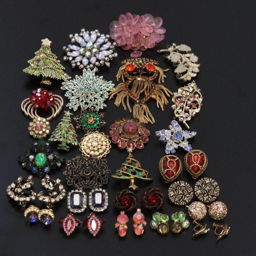 Vintage Assorted Clip Earrings and Brooches Including Rhinestones and Sterling