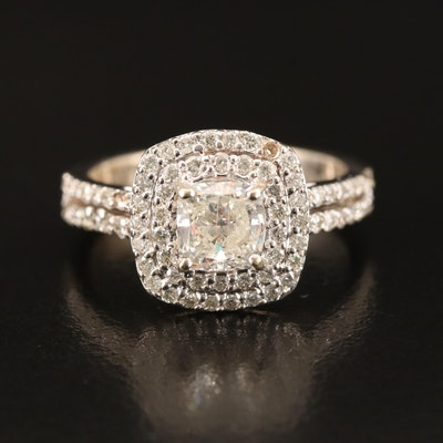 14K 1.52 CTW Diamond Double Halo Ring