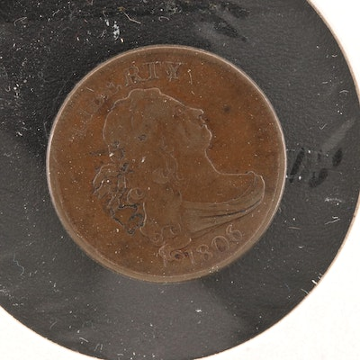"""1806 """"Small 6, Stems"""" Draped Bust Half Cent"""