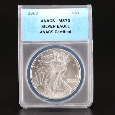ANACS Graded MS70 2003-S $1 American Silver Eagle