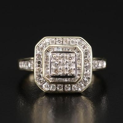 """10K Diamond Ring with Cut Corner Design"