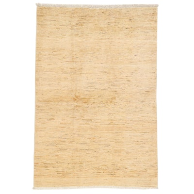 4'6 x 6'8 Hand-Knotted Afghan Gabbeh Wool Area Rug