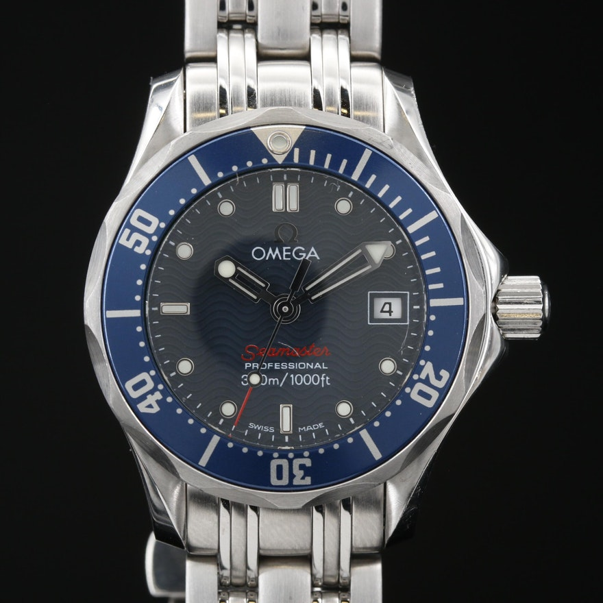 """Omega """"Seamaster"""" Professional 300 Meters with Date Stainless Steel Wristwatch"""