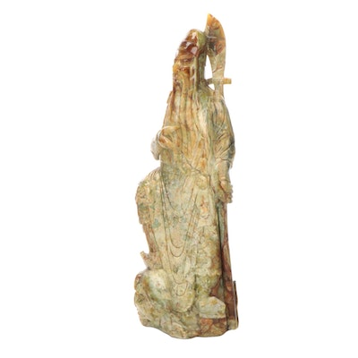 Chinese Large-Scale Serpentine Carving of Guan Yu