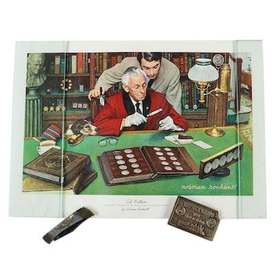 "Japanese Inlay Eagle Pocketknife, ""Topeka Shops"" Santa Fe Belt Buckle, and Print"