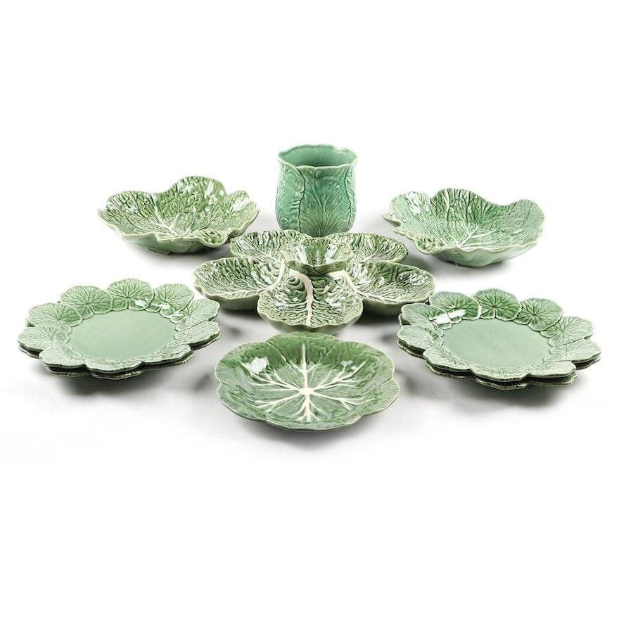 "Bordallo Pinheiro Majolica ""Geranium Green"" and ""Cabbage Green"" Tableware"