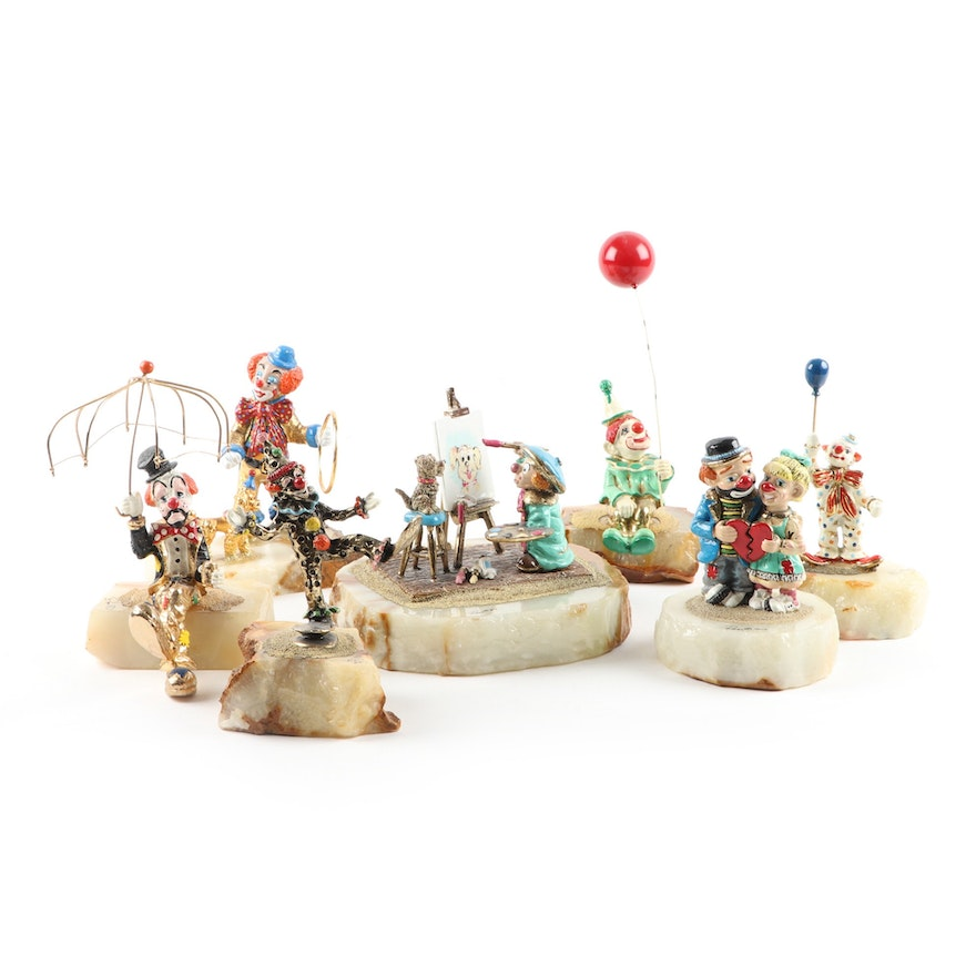 Ron Lee Enameled Metal Clown Figurines Including Painter with Dog Figurine